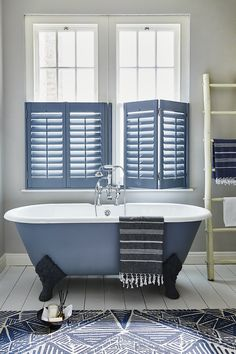 Buy custom interior plantation window shutters at the best prices. Expert Plantation Shutter and Solid Wooden Shutters made to fit your windows. Cafe Style Shutters, Interior Window Shutters, Blue Shutters, Interior Windows, Interior Door, Bathroom Window Treatments, Bathroom Windows, Bathroom Closet, Master Bathroom