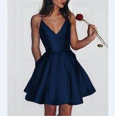 2018 short cute stain  simple V-neck Spaghetti Strap Homecoming dress HD003