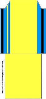 Listras Azul, Amarelo e Preto - Kit Completo com molduras para convites, rótulos para guloseimas, lembrancinhas e imagens! - Fazendo a Minha Festa