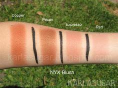 NYX blush swatches Copper, Pecan, Expresso, Espresso, Red