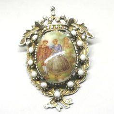 Enamel Brooch - Vintage, Florenza Signed, Gold Tone, Milk Glass, Faux Pearl, Romantic Victorian Scene Pin by MyDellaWear on Etsy $26