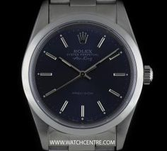 Rolex Stainless Steel Oyster Perpetual Blue Dial Air-King Precision 14000 Rolex Oyster Perpetual, Vintage Rolex, Oysters, Stainless Steel, King, Blue