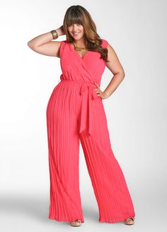 Island Hibiscus (Coral) Pleated Pant Jumpsuit via Ashley Stewart (Absolutely love it.)