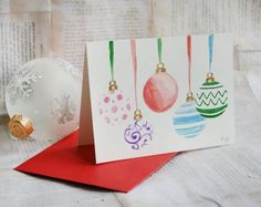 Hand Painted Ornament Card by HandmadeDarling on Etsy, $7.00