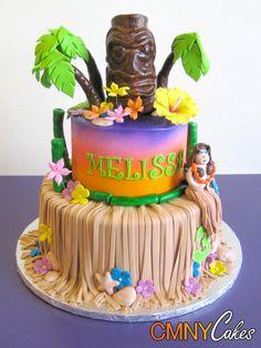 Luau Cake Gallery   Luau Hula Girl Birthday Cake - CMNY Cakes