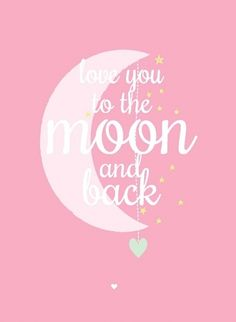 Ansichtkaart Love you to the moon roze