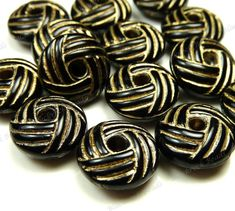 10x5mm Carved Black and Gold Acrylic Beads  by BlackrockBeads