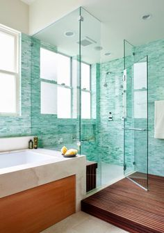 The tile and design. So pretty. Same bathroom/different view. Turquoise spa-inspired bathroom. House of Turquoise.