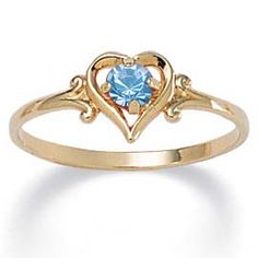 Birthstone Heart-shaped Ring~ birthday present from hubby <3