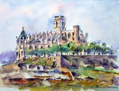 La Seu de Manresa (Watercolor) Cathedrals, Watercolors, Adventure Travel, Castles, Watercolor Art, Barcelona, Sketches, Urban, Architecture