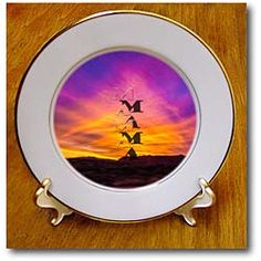 Mama written in a purple and orange sunset in the evening Plate