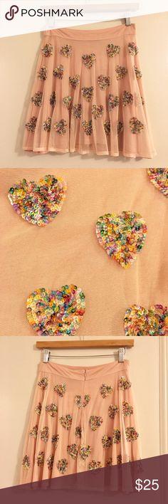 Asps Skater Skirt with Heart Embellishment Fun and unique skater skirt! Sequined heart design. NWT! ASOS Skirts Circle & Skater