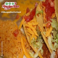 - 2 Tacos with your choice of chicken, ground beef or shredded beef, served with rice and beans. You really can't go wrong with Tacos. Orchard Restaurant, Shredded Beef, Ground Beef, Mall, Tacos, Beans, Rice, Canning, Chicken