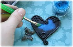 Using mica powder on polymer clay for a cool effect. Polymer clay tutorial.