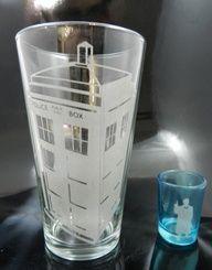 10th Doctor and Tardis Glass Irish Car Bomb Set. $20.00, via Etsy.