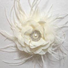 Shop Bridal Flower Feather Hair Clips #handmade