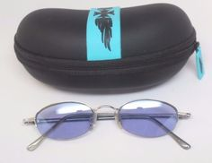 Vintage-look Oval Women's Funky Sunglasses Silver Frame/ Purple Lens+ Zip Case #Unbranded #Oval
