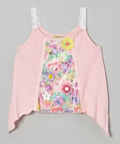 Another great find on #zulily! Light Pink Floral Sidetail Tank - Toddler & Girls #zulilyfinds