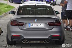 BMW M4 matte grey wrap. Rear view.