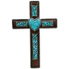 turquoise heart cross