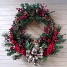 Winter Wreath Owl Wreath Woodland Wreath by MnMadeWreathsNThings