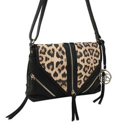 Another great find on #zulily! Black Leopard Carly Flap Crossbody Bag by Jessica Simpson Collection #zulilyfinds