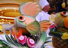 Food Sculpture, Emerald Princess by Stan Wojick Amazing Food Art, Amazing Cakes, Food Sculpture, Sculptures, Kai Arts, Creative Food Art, Food Carving, Tasty Dishes, Healthy Choices