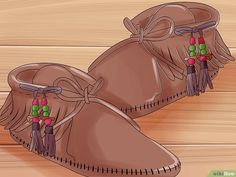 How to Make Moccasins. In the cold winter months, your feet can catch a chill just from walking around your home. Park yourself in front of the fire and make yourself a pair of moccasins to warm up your feet, keep comfy, and stay stylish. Baby Moccasin Pattern, Moccasins Pattern, How To Make Moccasins, Mocassins Cuir, Mocassin Shoes, Paper Grocery Bags, Native American Moccasins, How To Make Leather, Moccasin Boots