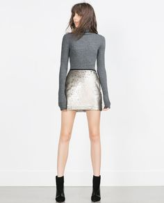 SEQUINNED MINISKIRT from Zara in Aged Silver $39.90