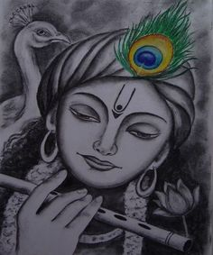 Hues & Shades - Hand Painted Oil & Charcoal in 2020 Girl Drawing Sketches, Cool Art Drawings, Pencil Art Drawings, Easy Drawings, Drawing Ideas, Krishna Drawing, Krishna Painting, Indian Art Paintings, Modern Art Paintings