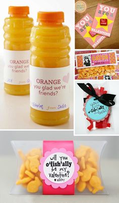Sharing the Love: 50 Ideas for Making Your Own Valentines – design finch The gold fish one for daycare.