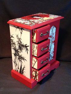 Oriental Lady Jewellery box decoupaged OOAK
