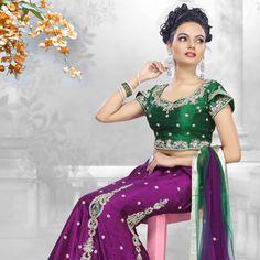 Purple Raw Silk Lehenga Choli with Dupatta