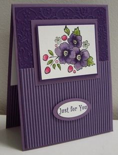 handmade card ... pretty purples ... lovely coloring of the flower image ... clean lines ..