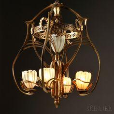 Gustav Gurschner 1901 Maiden Lamp | Art Nouveau Antiques ...:Art Nouveau Chandelier,Lighting