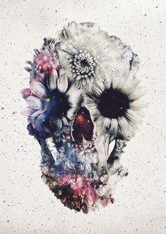 'Floral Skull Art Print by Ali Gulec Tattoos 3d, Love Tattoos, Pretty Skull Tattoos, Floral Skull Tattoos, Mini Tattoos, Finger Tattoos, Skull Tattoo Flowers, Geisha Tattoos, Sweet Tattoos