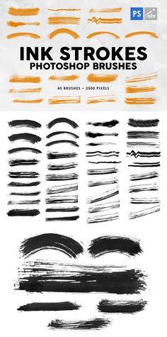 45 Ink Strokes Photoshop Stamp Brushes Pixel Size, Photoshop Brushes, Template, Stamp, Ink, Design, Stamps, Vorlage