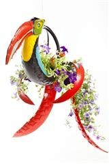 recycled tire art bird planter