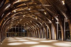 Conference Hall Made From Two Types of Bamboo Architects from the Vo Trong Nghia office built a conference hall made from two types of bamboos and a impressive glass frontage, Vietnam. The roof and the archs are made by braiding branches. The construction reveals all its architecture beauty when it is lighted by night.