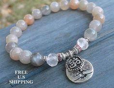 Silvery Moonstone, Rose Quartz, healing bracelet, Tree of life, Om bracelet, Yoga Bracelet, Meditation bracelet, Reiki, wrist mala by LifeForceEnergy on Etsy https://www.etsy.com/listing/210999147/silvery-moonstone-rose-quartz-healing