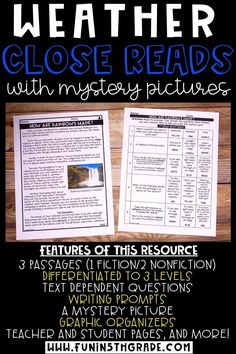 These weather themed reading activities are perfect for distance learning, e-learning and/or homeschool! This reading comprehension resource is no prep, print & go and helps upper elementary students practice their close reading skills. Includes 3 Engaging and high interest passages about weather, differentiated to 3 different levels, mystery picture, graphic organizer, writing prompts & more!!