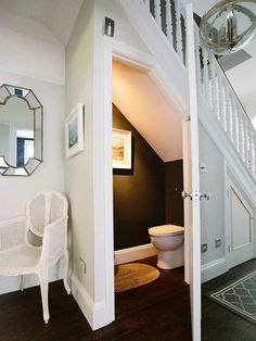Checkout These Understairs Creative And Practical Space Ideas. Here are ideas for space under stairs. A hidden laundry. The DIY creating a walk in pantry with extra shelves for better organization. Or an extra closet for the spare bathroom. Basement Remodeling, Small Bathroom, Tiny Bathrooms, Bathrooms Remodel, House, Staircase Design, Room Under Stairs, Stairs, Bathroom Under Stairs