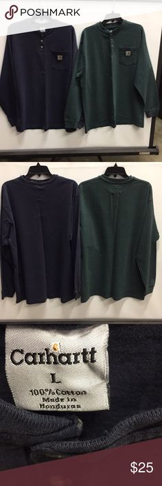 2 Carhartt LongSleeve Work Man Tees. Solid Navy and Solid Green 100% Cotton LongSleeve Tees with pocket on front. Both  is slightly Faded. 25in Chest, 28in Long and 26in Sleeves from wrist to Shoulder. Great working Shirts. Carhartt Shirts Tees - Long Sleeve
