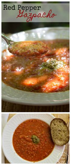 Chilled Roasted Red Pepper Gazpacho - spring and summer call for chilled soups like this tasty Roasted Red Pepper Gazpacho Soup. Garnished with fresh pesto and rustic bread.   CeceliasGoodStuff.com |Good Food for Good People