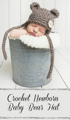 Crochet Newborn Baby Bear Hat Photo Prop... this is soooo sweet! What a lovely little photo prop! Now I wish I was having a baby!