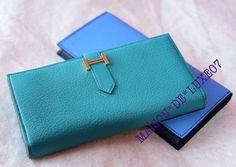 Hermes Blue Paon Green Chèvre Bearn Long Wallet Clutch - New  2699 a4f21c9fc1953