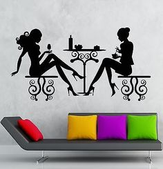 Wall Stickers Cafe Restaurant Women Silhouette Lunch Table Vinyl Decal (ig2421)