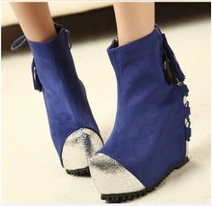 Slope With Thick Frosted Bottom Skin Splicing Back Strap Heels Blue QQ14010205-1.http://www.clothing-dropship.com