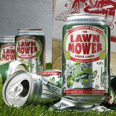 Falcon Brewery's Lawn Mower Amber Lager packaging designed by Nine.