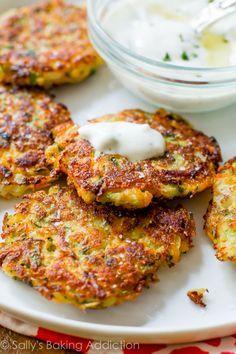 Sally's Baking Addiction Zucchini Fritters with Garlic Herb Yogurt Sauce Veggie Dishes, Vegetable Recipes, Vegetarian Recipes, Cooking Recipes, Healthy Recipes, Easy Corn Fritters, Zucchini Fritters, Yogurt Sauce, Hungarian Recipes